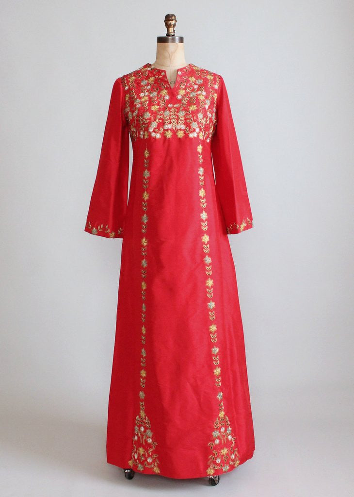 Vintage 1970s Indian Embroidered Red Silk Caftan