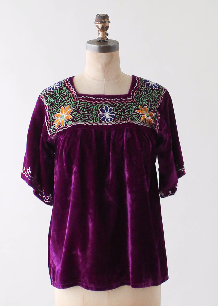 Vintage 1970s Embroidered Velvet Top from India