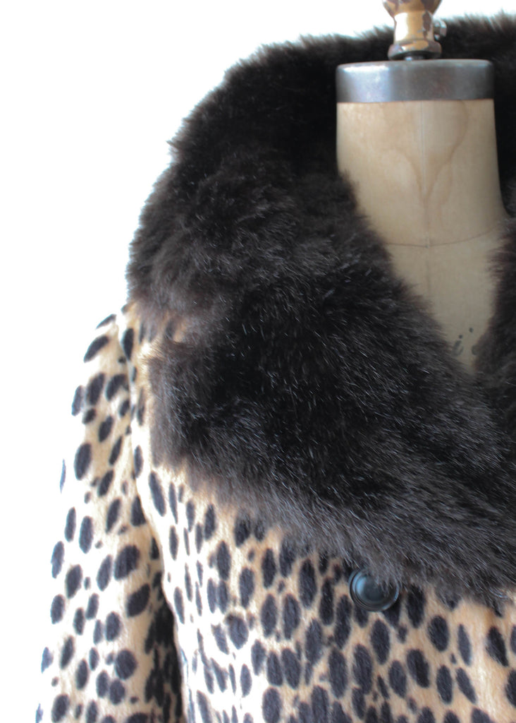Vintage 1970s Leopard Print and Faux Fur Coat