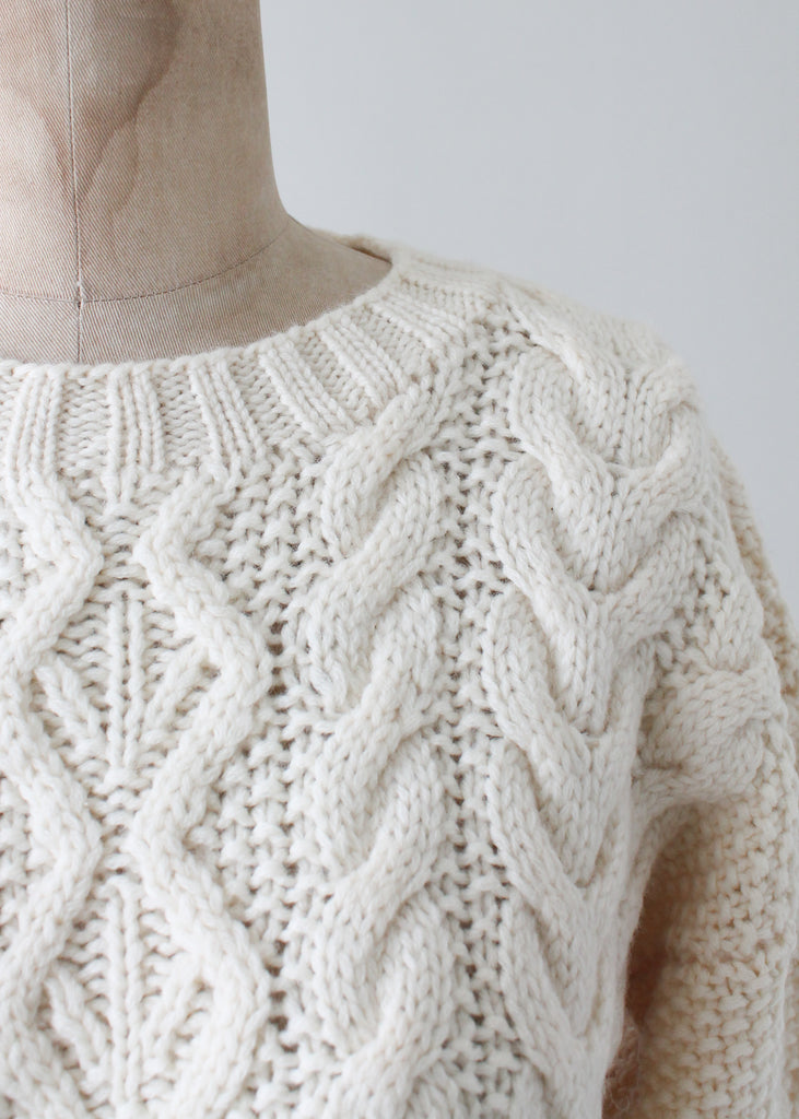 Vintage 1970s Fisherman Cable Knit Sweater
