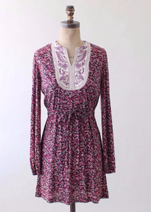 Vintage 1960s Embroidered Floral Mini Dress