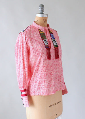 Vintage 1970s Beaded Floral Hippie Shirt