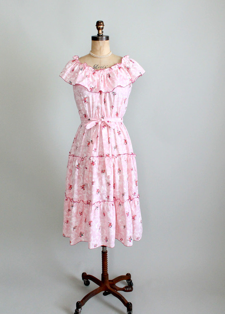 1970s pink floral sundress