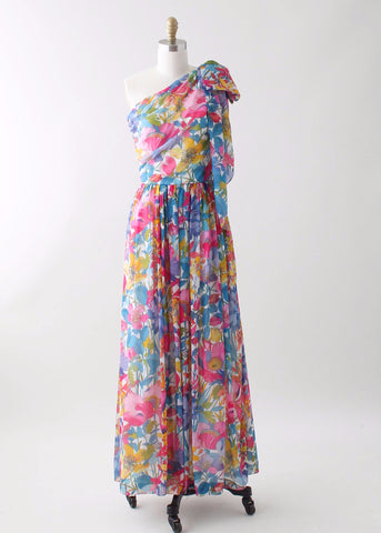 Vintage 1970s One Shoulder Floral Chiffon Summer Dress