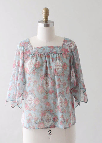 Vintage 1970s Floral Top with Handkerchief Sleeves