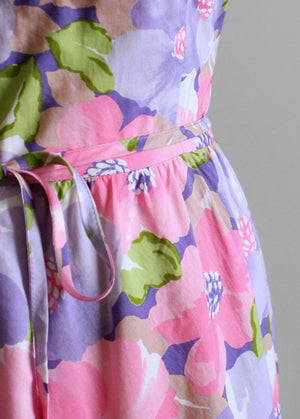 Vintage 1970s Purple and Pink Floral Cotton Sundress