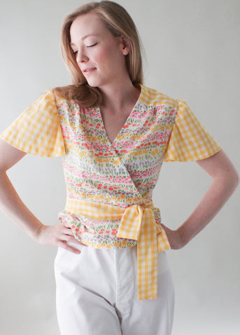 Vintage 1970s Floral Gingham Wrap Top