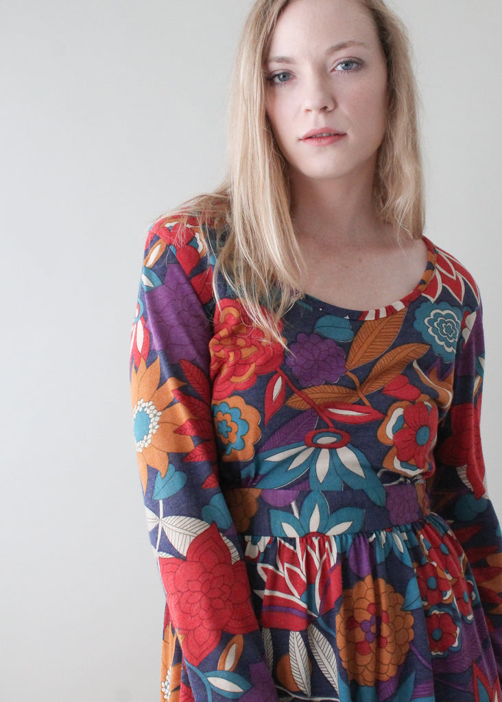 Vintage 1970s Fall Florals Cotton Dress