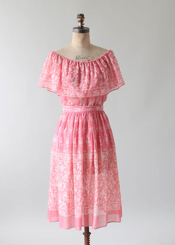 Vintage 1970s Pink Floral Two Piece Boho Dress Set