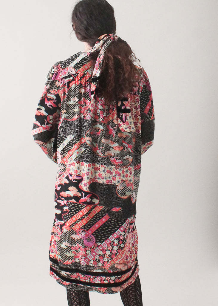 Vintage 1970s Asian Print Cotton Day Dress