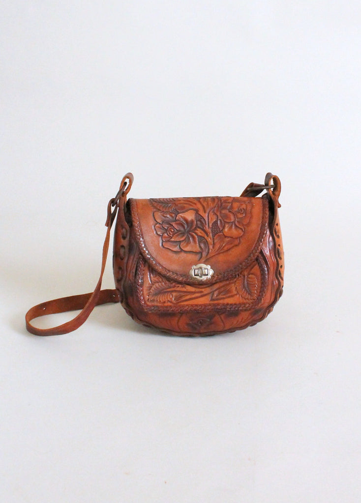 Vintage 1970s Rose Tooled Leather Festival Purse