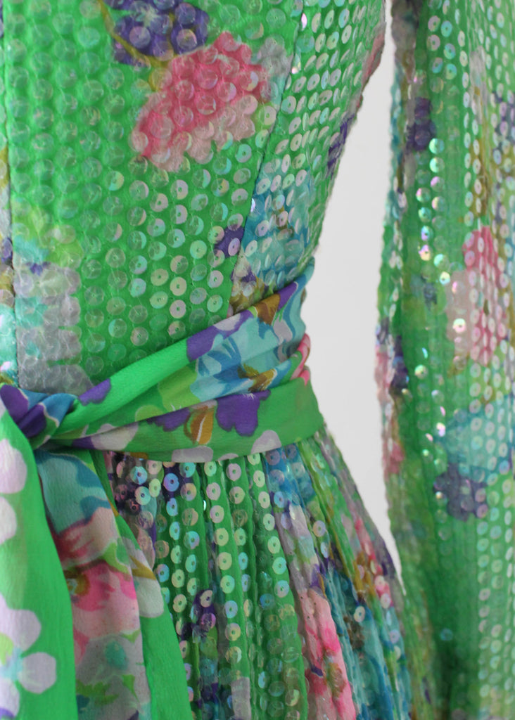 Vintage 1970s Green Floral and Sequined Party Dress