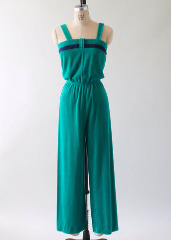 Vintage 1970s Green Terrycloth Jumpsuit