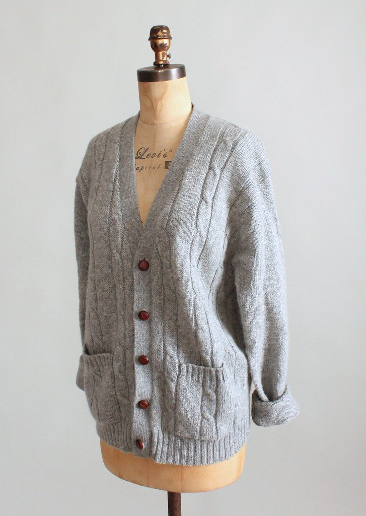 Vintage 1960s Grey Wool Cable Knit Boyfriend Cardigan