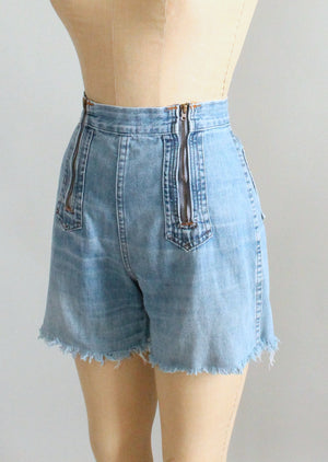 Vintage 1970s Double Zip High Waist Denim Shorts