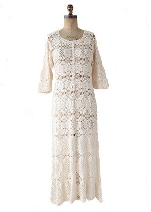 Vintage 1970s Ivory Crochet Caftan Dress