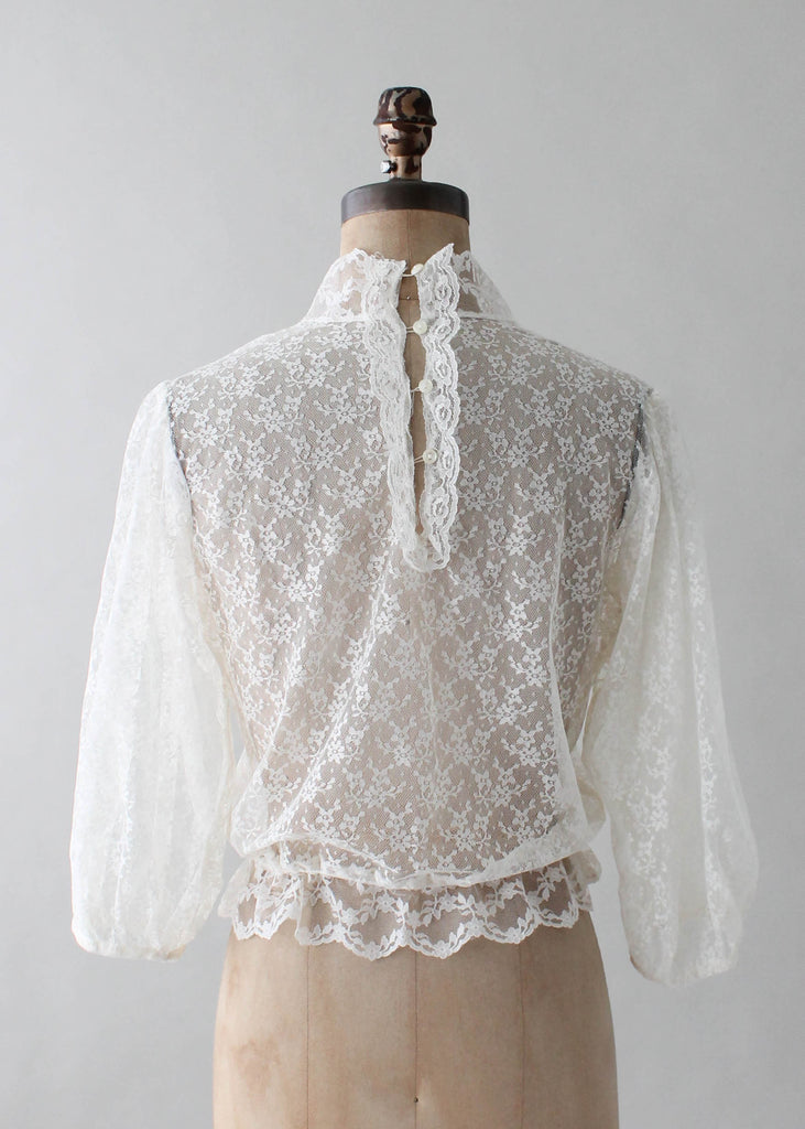 Vintage 1970s Lace and Ruffles Blouse