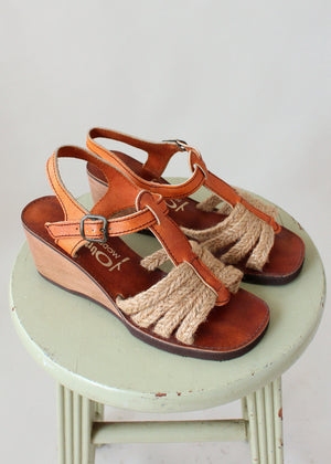 Vintage 1970s Jute and Leather Wedge Sandals