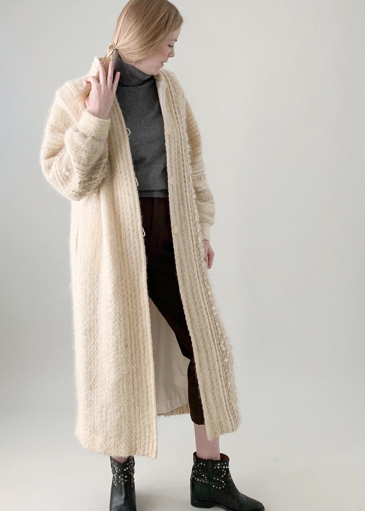 Vintage 1970s Knit Full Length Winter Coat