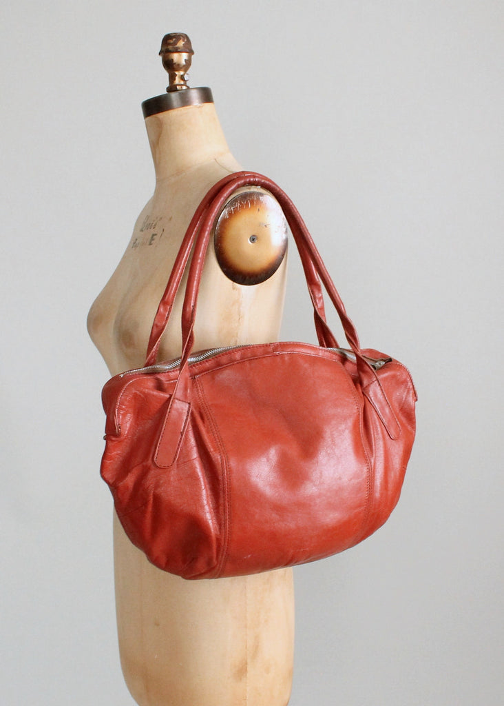 Vintage 1970s Brown Leather Slouch Bag Purse
