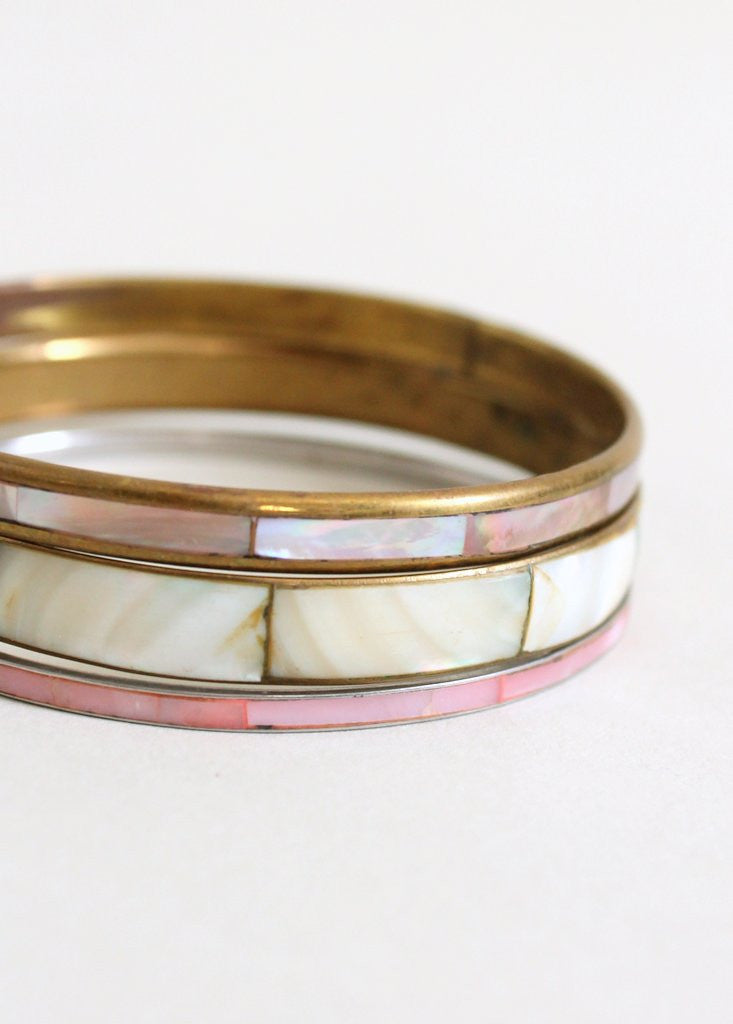 Vintage 1970s Mother of Pearl Bangle Trio