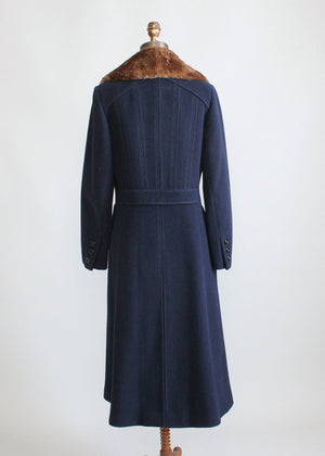Vintage 1970s Navy Wool and Fur Collar Winter Coat