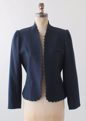 Vintage 1970s Scalloped Navy Wool Jacket
