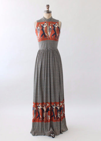 Vintage 1970s Novelty Print Maxi Dress with Flappers