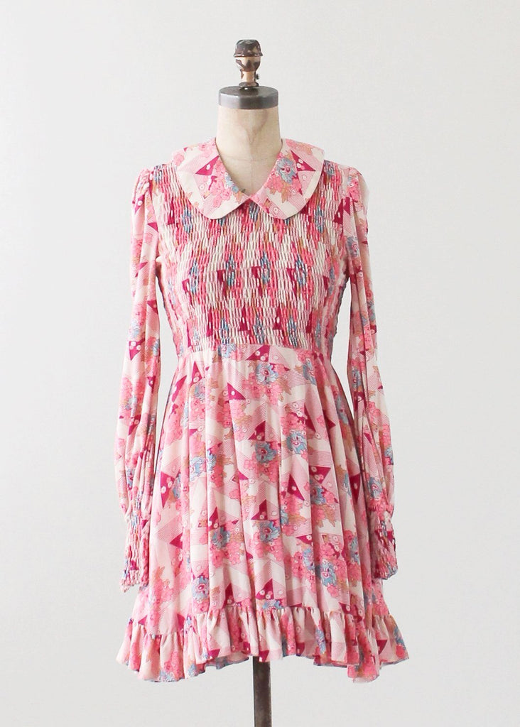 Vintage 1960s Smocked Mini Dress