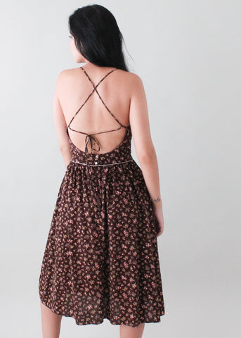 Vintage 1970s Open Back Sundress