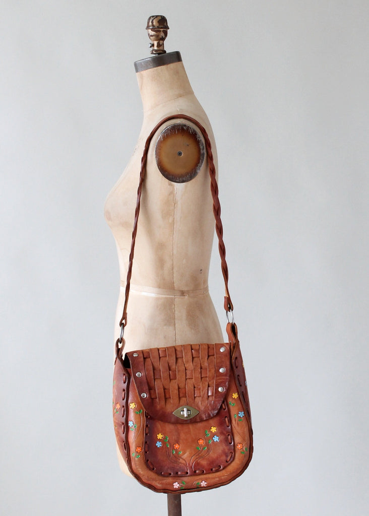 Vintage 1970s Painted and Woven Leather Purse