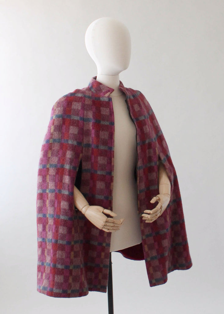 Vintage 1970s Plaid Wool MOD Cape