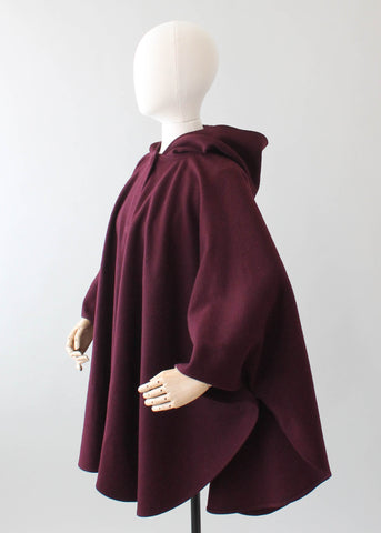 Vintage 1970s Plum Wool Hooded Poncho Cape