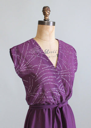 Vintage 1970s Plum Sparkles Dance Dress