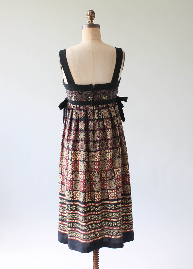 Vintage 1970s Neutral Tones Cotton Sundress