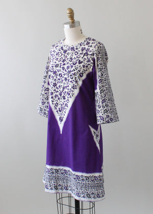 Vintage 1970s Purple Indian Cotton Mini Dress