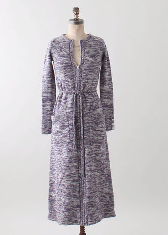 Vintage 1970s Purple Space Dyed Knit Maxi Dress