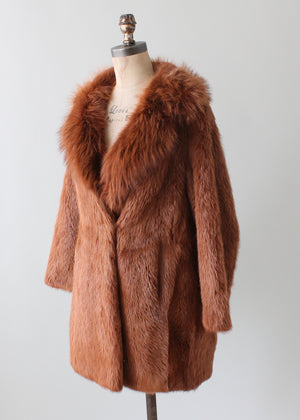 Vintage 1970s Red Fox Fur Coat
