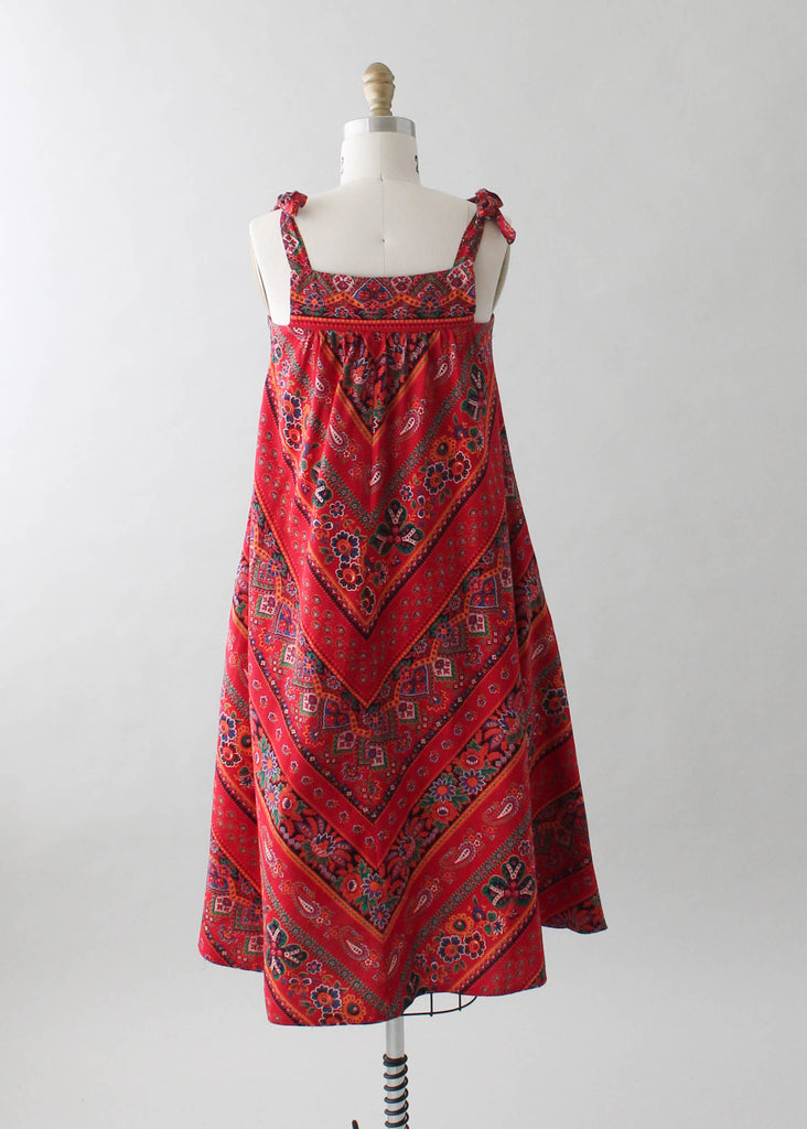Vintage 1970s Red Print Summer Tent Dress