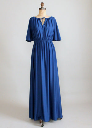 Vintage 1970s Royal Blue Maxi Dress