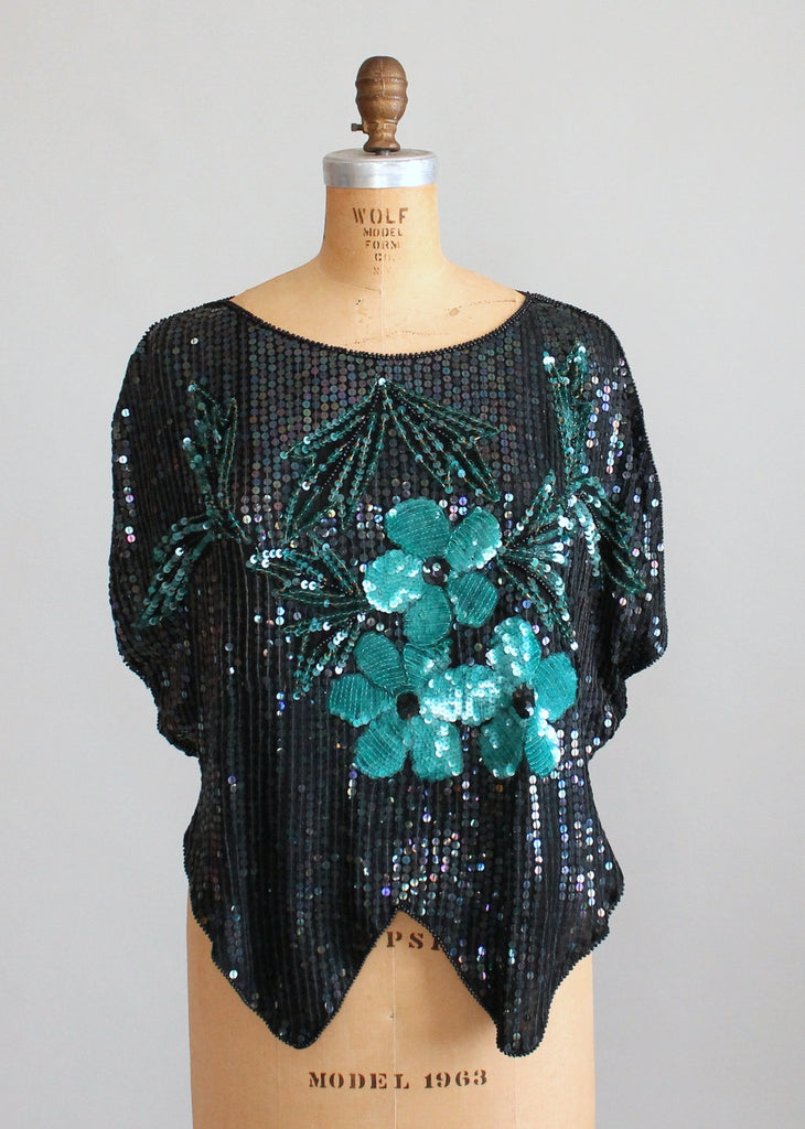 Vintage 1970s Sequined Flowers Party Top