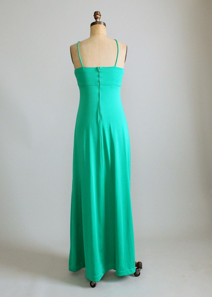 Vintage 1970s Sexy Green Maxi Dress