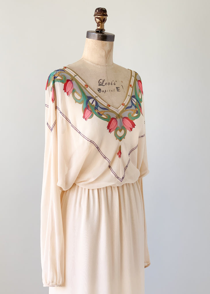 Vintage 1970s Silk Bat Wing Dress