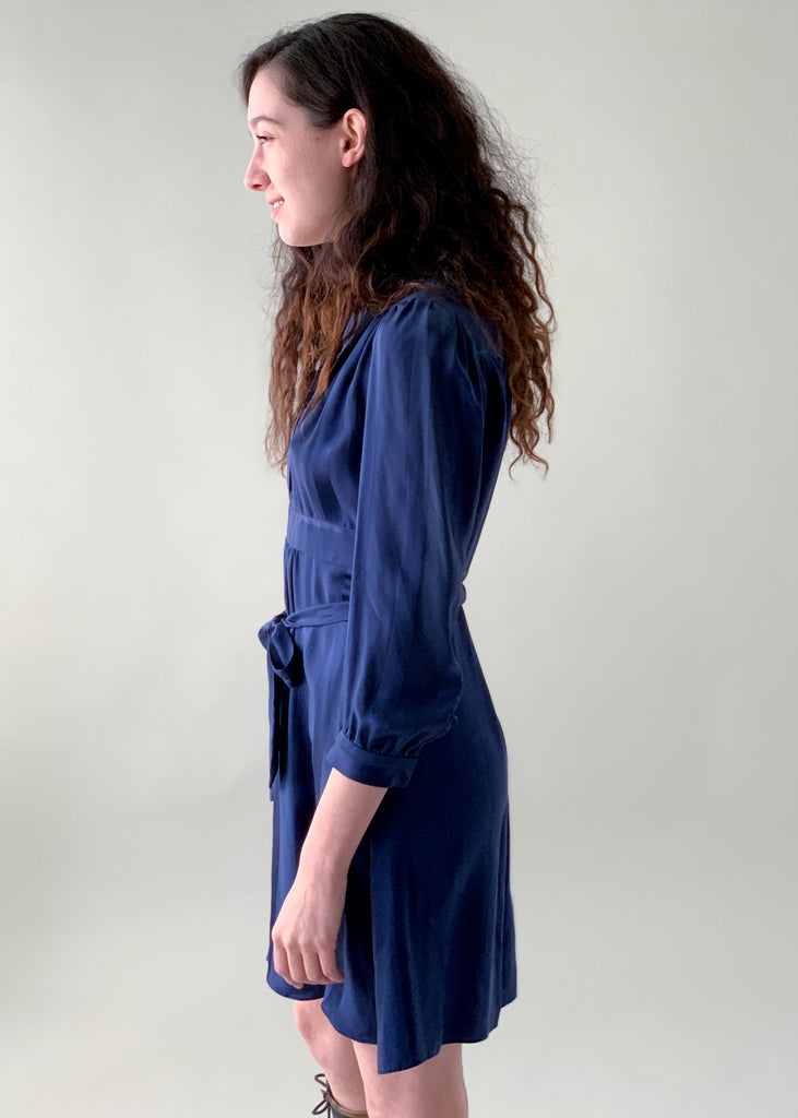 Vintage 1970s Navy Silk Mini Dress