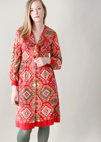Vintage 1970s Jerry Silverman Silk Print Dress