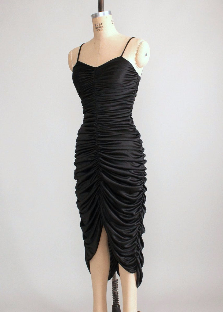 Vintage 1970s Sexy Black Ruched Dance Dress Raleigh Vintage