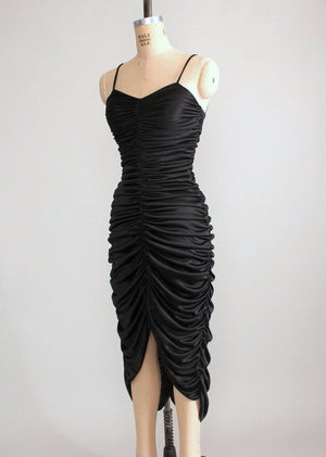 Vintage 1970s Sexy Black Ruched Dance Dress