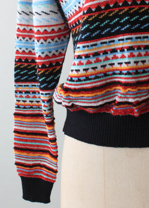 Vintage 1970s Sparkle Striped Sweater