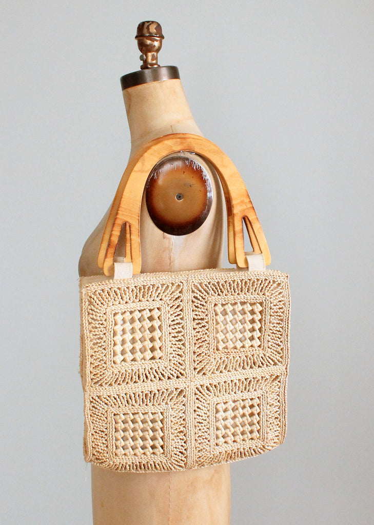 Vintage 1970s Woven Straw Tote Purse with Wood Handles