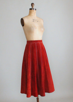 Vintage 1970s Rust Suede Gored Full Skirt